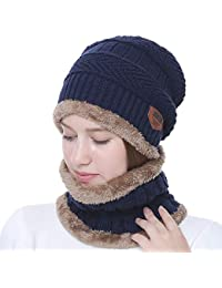 Alexvyan Blue Snow Proof Inside Fur Unisex Wool Beanie Cap with Scarf for Men and Women