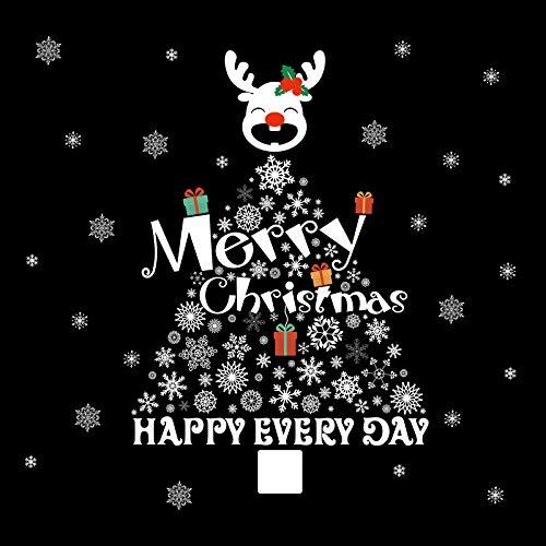 Szene Et Kostüm - VHVCX Weihnachtszierde Szene Layout Schneeflocke Weihnachtsbaum Wandaufkleber Hirsch Kostüm-Shop Aufkleber Fensterglastür