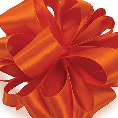 Zipperstop Offray Double-Face Satin Ribbon 5/8 Inch 100 Yards Torrid Orange, Several Colors + Custom Print -