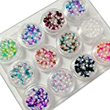 BEWISH 12 Döschen Set Farbverlaufende Nagelperlen Durchmesser 4mm Pelen Nageldesign