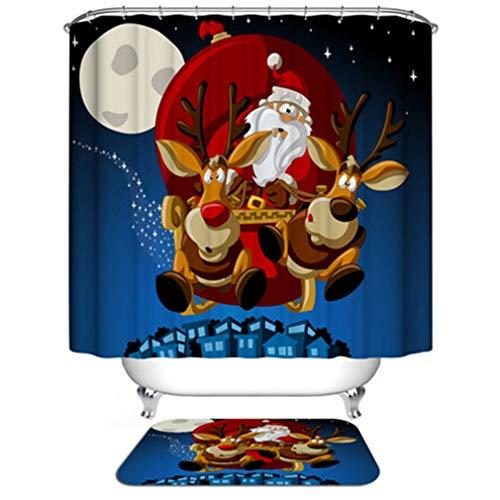 YUSAHI New Shower Curtain American Style Natale Cartoon Festive Pattern Home Decor Tenda da Doccia Tessuto Bagno Impermeabile