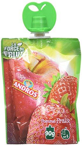 Andros Compotes de fruits en gourdes 4 variétés panachées 18x90g - Lot de 2