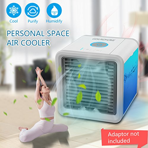 Mini Klimaanlage Ventilator ,USB Klimagerät 3 in 1 Raumluftkühler, Luftbefeuchter und Luftreiniger Tragbarer Tischventilator für Büro,Hotel,Garage und Haus usw