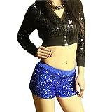 QIYUN.Z Les Femmes Danser Effectuer Paillettes De Costumes Shorts Taille Elastique Courts Pantalons Pantalon