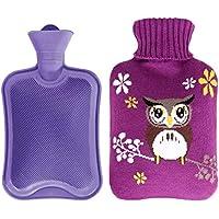 800ML Netter Eule Klassisch Gummi Kalt oder Heiße Wasserflasche mit Strickbezug - Lila preisvergleich bei billige-tabletten.eu