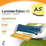 Bolsas para plastificar Printation, 100piezas, DIN A5, 216x 154mm, 2de...