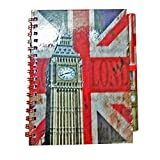 Classic Big Ben Clock Notebook and Matching Pen! Distressed London Union Jack GB UK Note book Notepad Notepad Note Pad ! Souvenir / Speicher / Memoria! Fashionable, Cool British Souvenir! A Unique and Memorable Gift! Carnet / Notizbuch / Taccuino / Cuaderno!