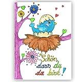 Vögelchen - Schön dass du da bist - Karte zur Geburt Glückwunsch Baby Karte Mädchen, Babykarte, Glückwunschkarte, Vogel, süß, handgemalt