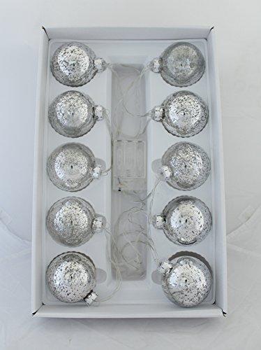 Decoline LED Weihnachtskugeln 10 Stück Ø 7cm (batteriebetrieben - Silber)