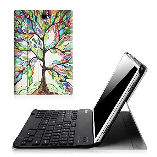 Fintie Blade X1 Samsung Galaxy Tab A 10.1 Bluetooth Tastatur Hülle Keyboard Case - Ultradünn leicht SmartShell Ständer Schutzhülle mit magnetisch abnehmbarer drahtloser deutscher Bluetooth Tastatur für Samsung Galaxy Tab A 10,1 Zoll T580N / T585N Tablet (2016 Version), Liebesbaum