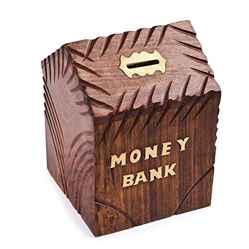 Banco de dinero de madera con forma de casa, hucha con dinero Ahorrador de moneda Idea de regalo para niños de 6 pulgadas, Día de Pascua / Día de la madre / Regalo de Viernes Santo