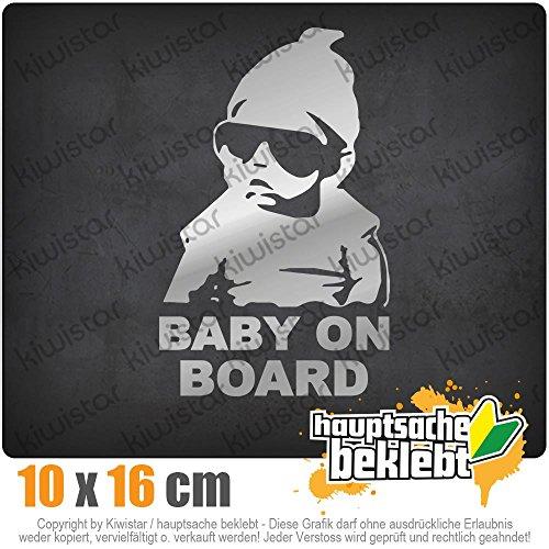 KIWISTAR Baby on Board Kinderaufkleber 16 x 10 cm IN 15 FARBEN - Neon + Chrom! Sticker Aufkleber