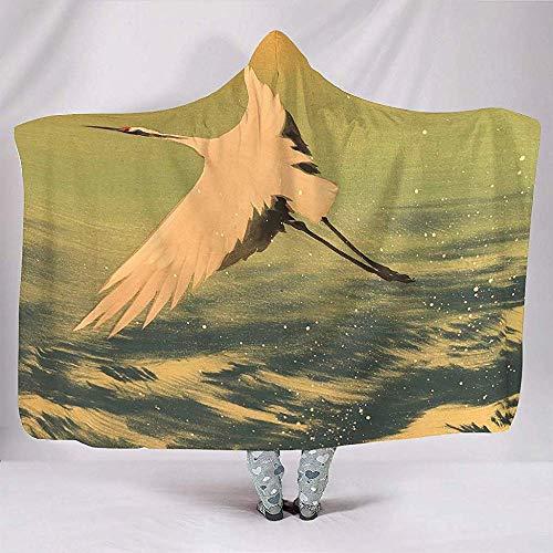Nat Abra Flying Crane Wave Ukiyoe Decken Lustige Kuschelig Warme Plüsch Sherpa Cape Throw Wrap Robe Decke Kinder Spielen Spiele Sofa Schlafzimmer -