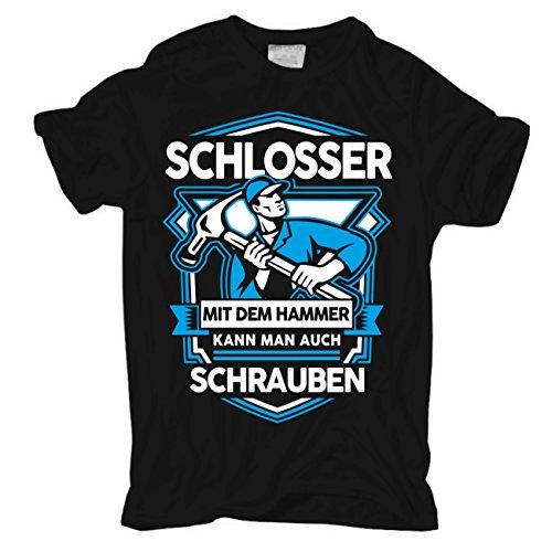 Männer und Herren T-Shirt Schlosser mit dem Hammer Körperbetont schwarz
