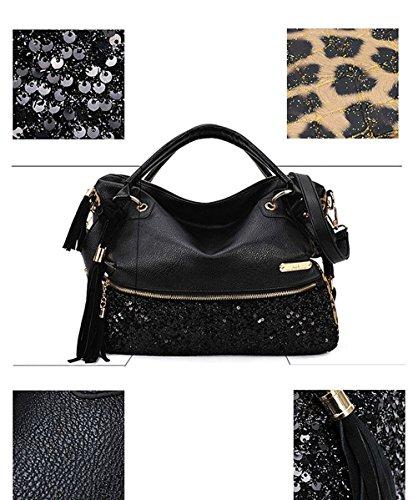 Honeymall Borse Donna Leopardo in PU Pelle Polso Borsa Nero Puro Nero Precio Bajo Precio Barato L3QLq6