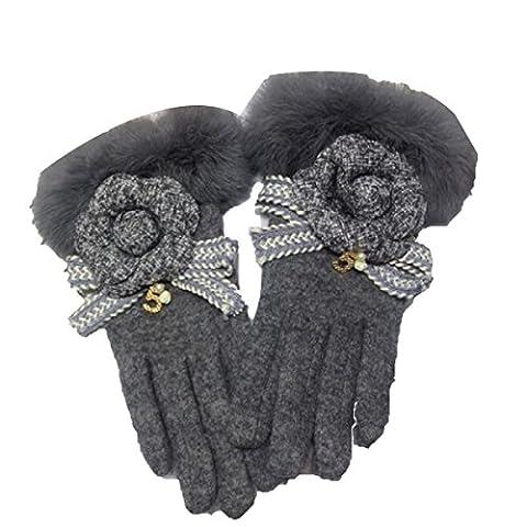 DIDIDD Handschuh Damen Warm Dicker Frauen Nette Models,Grau,Einheitsgröße
