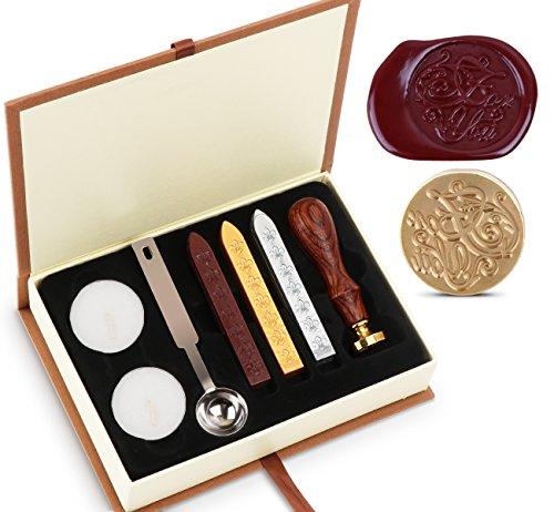 Wax Wachs Siegel Stempel Kit Absofine Vintage Adhesive Waxing Satz mit Stick Löffel Kerzen Geschenk Box