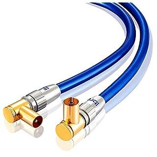IBRA 10m 75 Ohm HDTV Antennenkabel 90° gewinkelt Koax Stecker > Koax Kupplung Koaxialkabel für TV, HDTV, Radio, DVB-T und DVB-T2, Radio (UKW/ DAB / DAB+) (Winkelstecker) Vollmetallstecker   Blau/gold