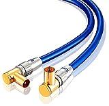 0,5m Cable de Antena HDTV Premium | En ángulo 90° | Resistencia: 75 ohmios | Cable coaxial HDTV/Full HD Clavija coaxial Macho en Acoplamiento Coax Carcasa metálica/contactos Dorados | Oro Azul