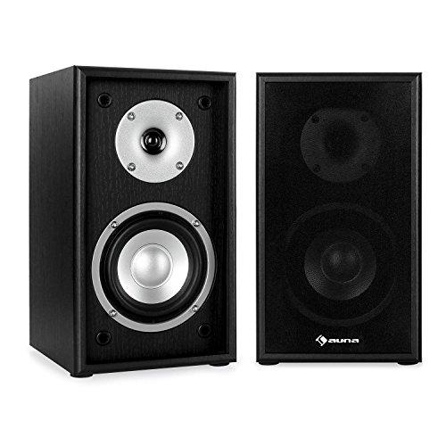 """auna Linie 300 SF-BK • Lautsprecher-Boxen • 2-Wege HiFi-Boxen • Regallautsprecher • Lautsprecher-Paar • 5\""""-Tieftöner • 76 Watt max. • 8 Ohm • abnehmbare Lautsprecherabdeckung • passiv • schwarz"""