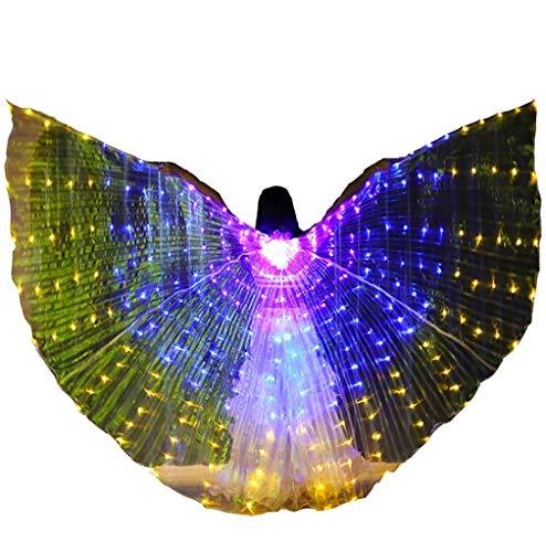 Ning Feenflügel mit led-licht Damen Bauchtanz Kostüm Cape Aufhellen Performance Bekleidung (Farbverlauf) (Tanz Kostüm Mit Lichtern)