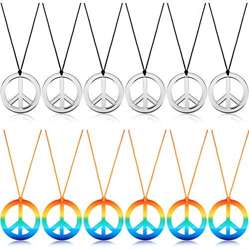 meekoo 12 Stücke Frieden Zeichen Halskette Frieden Symbol Anhänger Halskette 60s 70s Party Hippie Anhänger Zubehör für Party Täglich Kostüm Zubehör (Silber Farbe und Regenbogen Farbe)