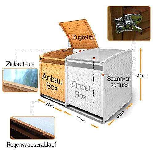 Mülltonnenbox Holz 240 L Gartenbox Mülltonnenverkleidung Mülltonne (Anbaubox 240L) - 2