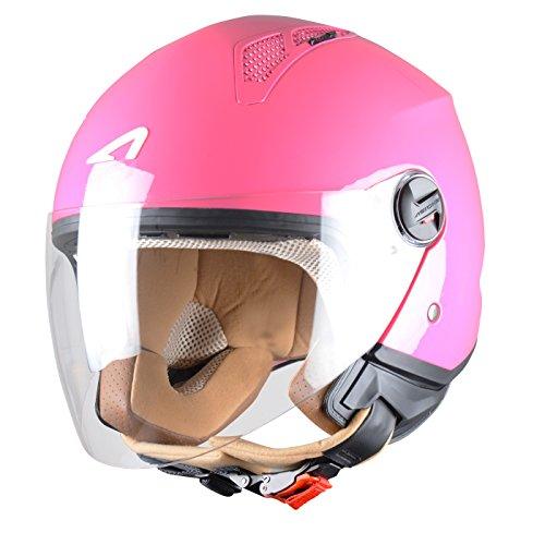 Preisvergleich Produktbild Astone Helmets - MINIJET monocolor- Casque jet - Casque jet urbain - Casque moto et scooter compact - Coque en polycarbonate - Lipstick XS
