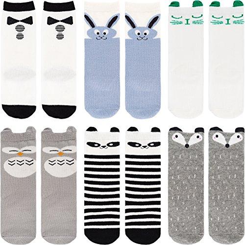 Ateid 6 Paar Jungen Kniestrümpfe Socken Knielang Stoppersocken mit Antirutsch-Noppen 2-4 Jahren