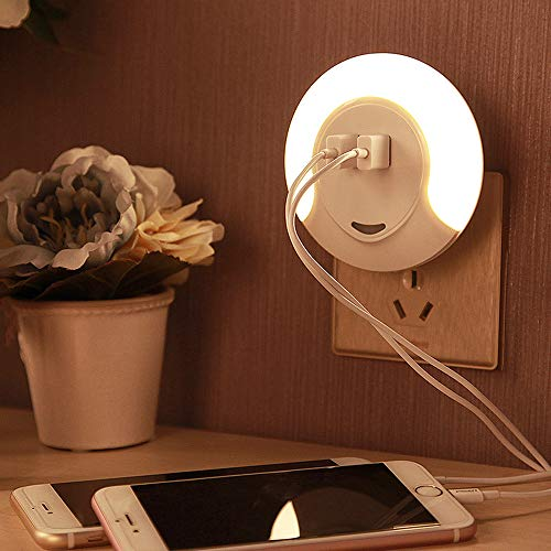 SLOSH Veilleuse avec Capteur Crépuscule et 2 USB Portes Prise Lampe de Nuit   5V 2A Chargeur Automatique Détecteur de Lumière   LED Murale de 0,5W pour pour Chambre Enfant Bébé Chevet (Lumière Chaude)
