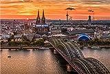 XXL Leinwandbild, Köln im Sonnenuntergang, EIN Exklusives Fineart Bild als hochwertige Wanddeko Wandbild in Galerie Qualität Canvas© Künstler Leinwand 180 x 120cm