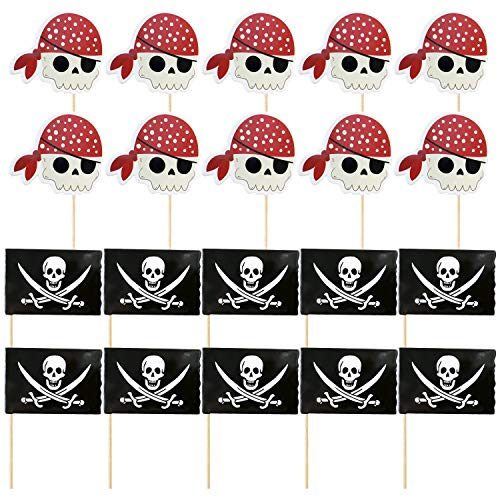 kuchendeckel,60 stücke Pirate Cupcake Topper Kuchen Picks Dekorationen für Piraten Thema Geburtstag Halloween Party Supplies ()