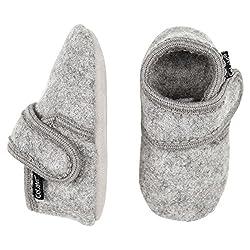 CELAVI Unisex-Baby Wool First Walker Shoe, Grey Melange