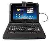 DURAGADGET Etui aspect cuir noir + clavier intégré AZERTY (français) pour tablettes Medion LifeTab 10,1' S10346 (MD 98992), S9714 (MD 99300), E10315 et E10318 - stand de maintien et stylet tactile BONUS