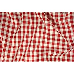 Tela de algodón de cuadros, color rojo y blanco, 140cm