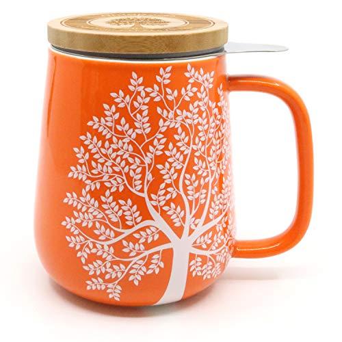amapodo Teetasse mit Deckel und Sieb, XXL Tasse Porzellan Set für losen Tee, orange, 650 ml, Geschenk (Tasse Mit Deckel)
