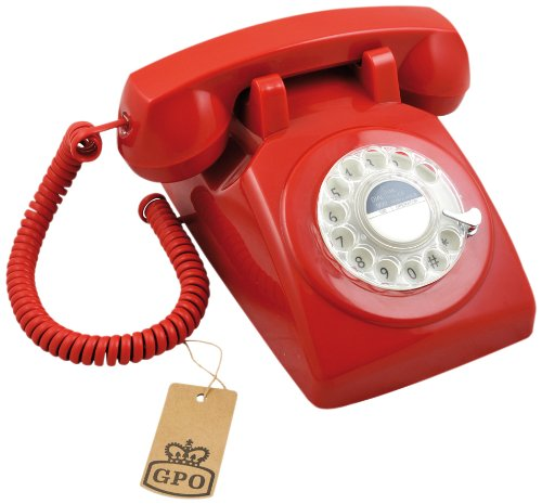 Retro Telefon ROTARY DIAL - 1970er Design in rot Rotary Dial Wand