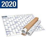 XXL Jahresplaner 2020 Wandkalender in Poster Größe. Lieferung in Rolle - Wandplaner, Jahreskalender, Groß: 70x100 cm. 1 Stück