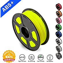 ABS Filaments for 3D Printer-SUNLU Yellow ABS Filament 1.75 mm,Low Odor Dimensional Accuracy +/- 0.02 mm 3D Printing Filament,2.2 LBS (1KG) Spool 3D Printer Filament for 3D Printers & 3D Pens,yellow