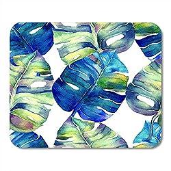 Mauspads Blauer Aquarell Abstrakte Blumengarten Aquarell Liana Swimwear Seiten Identität Art Green Tropical Mausunterlage für Notebooks, Desktop-Computer Bürobedarf 10x12 Zoll