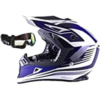 Motocross VIPER RS-X95RAZR CARBON Quad ATV Moto Off Road Enduro Casco MX Blu + Nero Goggles, L