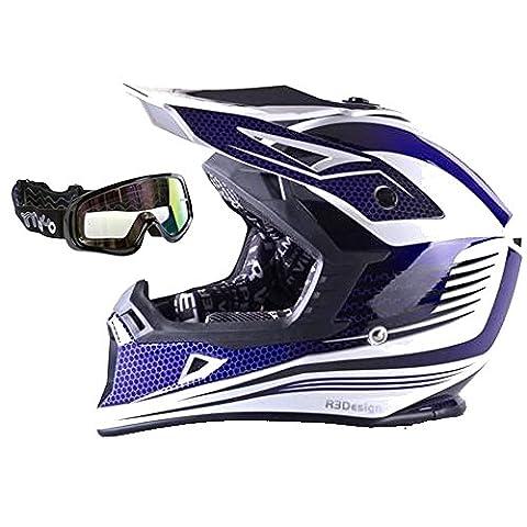 Motocross Viper rs-x95RAZR carbone ATV Moto Off Road Quad MX Enduro casque bleu + noir Lunettes de natation,