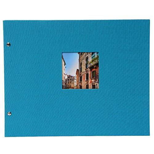 Goldbuch Schraubalbum mit Fensterausschnitt, Bella Vista, 39 x 31 cm, 40 weiße Seiten mit Pergamin-Trennblättern, Erweiterbar, Leinen, Türkis, 28893