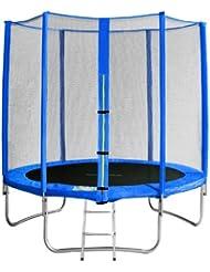 SixBros. Sixjump 1,85 M Trampoline de jardin bleu - Filet de sécurité - Échelle - Housse de protection - CST185/L1570