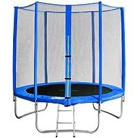 SixBros. SixJump 1,85 M Trampolín Cama elástica de jardín azul - Escalera - Red de seguridad - Lluvia cobertura TB185/1570