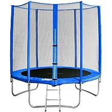 SixBros. SixJump 1,85 M Trampolín Cama elástica de jardín azul - Escalera -