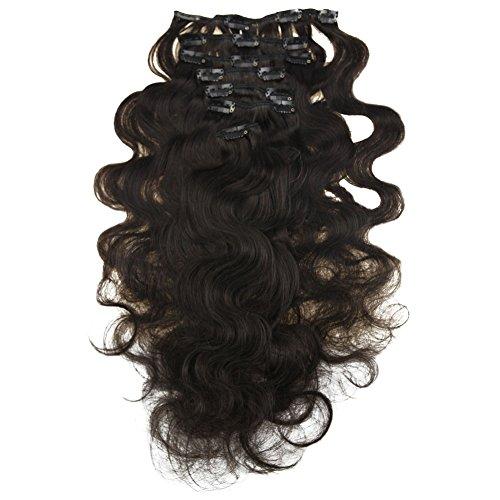Moresoo 100% veri remy capelli naturali extensions con clip 12 pollice 7pcs 120g body wave/ondulati clip in hair nero naturale #1b