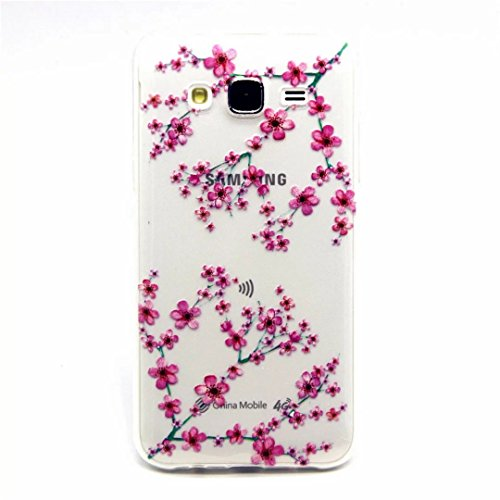 MOTOUREN Coque TPU pour Samsung Galaxy J5(2015 Version), Coque Samsung Galaxy J5(2015 Version) Ultra Mince Silicone Transparent Housse Souple Protectrice Bumper Etui avec Motif pour [Exact Fit] Samsung Galaxy J5(2015 Version) -prune fleur