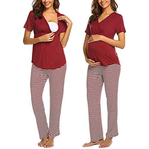 Pigiama premaman ospedale manica corta pigiami allattamento estivo maternità abbigliamento gravidanza cotone top e pantaloni donna incinta due pezzi/xl