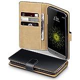LG G5 Case, Terrapin Handy Leder Brieftasche Case Hülle mit Kartenfächer für LG G5 Hülle Schwarz mit Hellbraun Interior